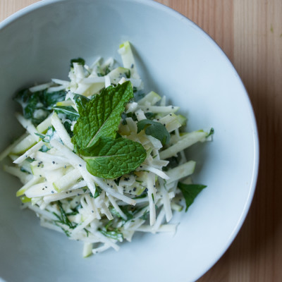 Crunchy Celery Root & Apple Slaw